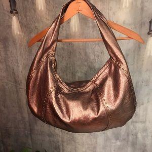 Kooba Metallic Crinkled Leather Studded